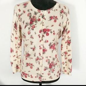Talbots Lamb's Wool Sweater With Roses Sz S